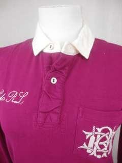 Rugby Polo Shirt Long Sleeve PRL Logo Fuschia Pink Magenta S