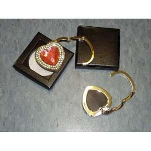 NEW Pink Crystal Heart Shape with Double Rhinestone Handbag Hook Purse