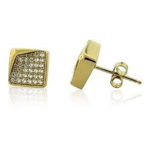 Sterling Silver CZ Gold Plated Bent Corner Small Micro Pave Hip Hop