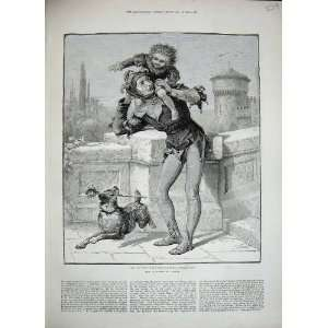 1884 Jester Costume Little Boy Puppy Dog Comedy Print
