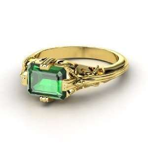 Acadia Ring, Emerald Cut Emerald 14K Yellow Gold Ring Jewelry