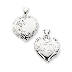 14k White Gold Reversible Heart Locket Pendant Jewelry