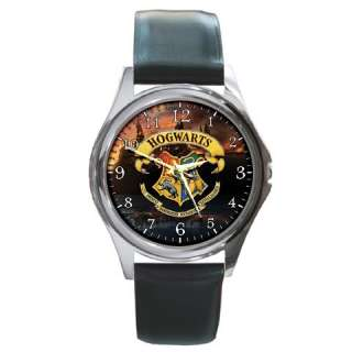 New* HARRY POTTER HOGWARTS SCHOOL Round Metal Watch Leatherband Opt. 5