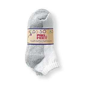 Pro Feet Kids Shell 6 Pack   White/Grey KIDS 7/9: Sports