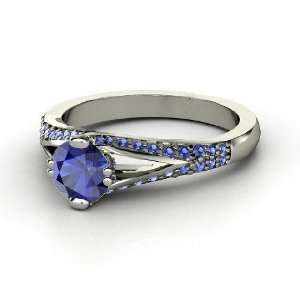 Guinevere Ring, Round Sapphire 14K White Gold Ring