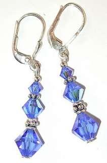 SWAROVSKI CRYSTAL ELEMENTS Sterling Silver Dangle Earrings SAPPHIRE