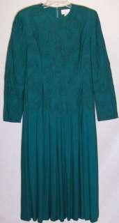 TALBOTS WOMENS LADIES AQUA BLUE GREEN GOWN DRESS sz 12