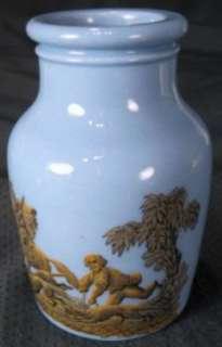 Prattware Blue Porcelain Wild Boar Baiting Hunt Jar