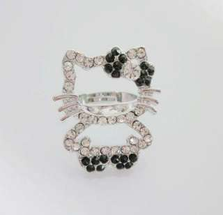 Fullbody Bling Cute Large Hello kitty black bow RING Xmas gift