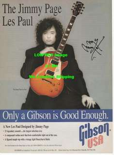 Jimmy Page Gibson Les Paul Guitar AD Pin Up Poster rare PICTURE Led