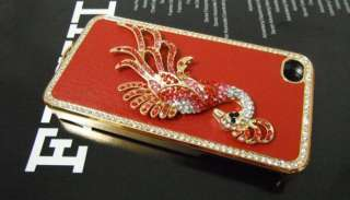 Crystal Hard Back Cover Case Bling Rhinestone For iPhone 4 4G 4S S Red