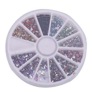 Pcs Nail Art Nailart Manicure Glitter Moon Tips Rhinestone Wheel Kit