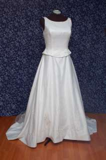 FIXER White Satin & Tulle Sleeveless Wedding Dress