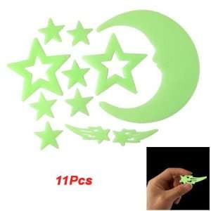 Glow In Dark Light Green Plastic Moon Star Sticker