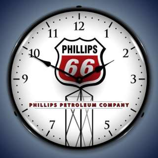 Phillips 66 Gasoline Gas & Oil Pump Backlit Clock