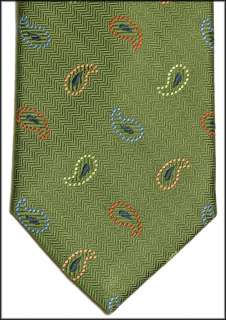 PETER MILLAR Hand Fold GREEN Paisley SILK Neck TIE NEW