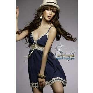 Sexy Cotton Navy Blue Laced Sleeveless Mini Dress