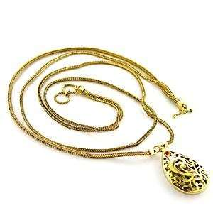 18 Inch Topaz Crystal Brass Gold Plated Necklace AM