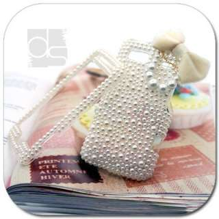 3D Custom Bling Pearl Gems Hard Skin Case Cover For LG Optimus S / U