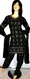 New Designer Black Patiala Shalwar Kameez Salwar Indian Sari Saree