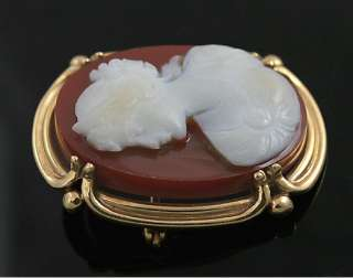 FINE ANTIQUE 14K GOLD HAND CARVED STONE CAMEO BROOCH PIN FELGER