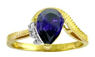 GOLD RING W/ GENUINE DIAMONDS & NATURAL PEAR SHAPED SAPPHIRE
