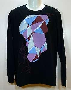 NEW NWT Mens Diesel Tshirt Tee Long Sleeve T Wince2 Black Aqua size sz