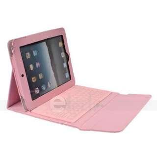 Pink Bluetooth Wireless Keyboard Leather Case iPad 2