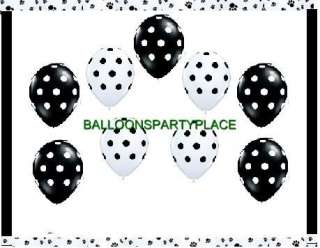 black white party polka dot damask paw prints birthday supplies