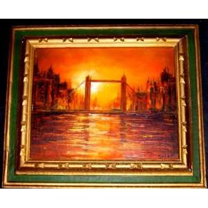 Decorative Small Framed Oil Painting Tower Bridge