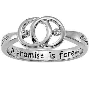 Plated Sterling Silver Couples Promise Diamond Name Ring Jewelry