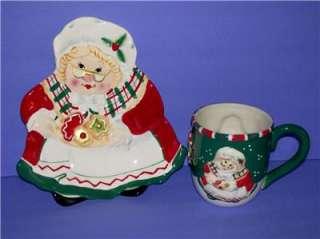 Christmas Plate & Mug Set Grandma Santa Fitz & Floyd Holiday Set Mint