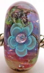 HEAVENLY GARDEN sterling silver core european charm lampwork glass