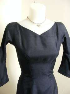 SUZY PERETTE Navy Blue SILK SHANTUNG Wiggle Hourglass Party Dress XS/S