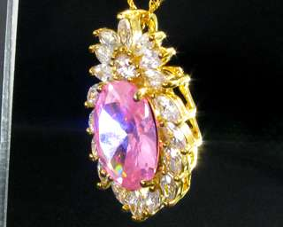 Oval Cut Pink Sapphire Yellow Gold GP Pendant Necklace Free Chain For