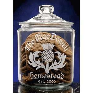 Personalized Scottish Thistle Glass Cookie Jar Kitchen