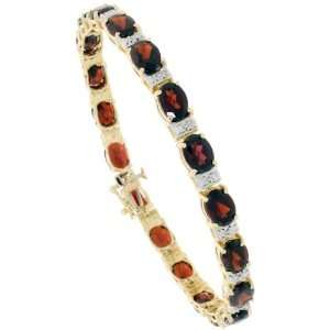 10k Gold 7 in. Tennis Bracelet, w/ Oval Cut (7x5mm) Garnet