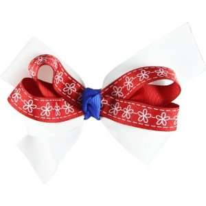 Genuine Lexa Lou White Red Blue with White Flowers Bow
