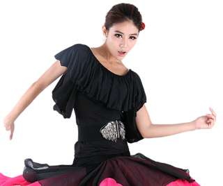 Women Ballroom Smooth Latin Tango Salsa Dance Dress Blouse Top
