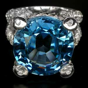 LUXURY TOP LONDON BLUE TOPAZ,SAPPHIRE 925 SILVER RING SZ 6.75