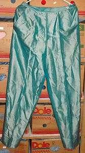 REAL CLOTHES WOMENS GREEN SILK SLACKS SIZE 10