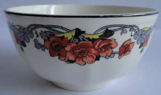 Art Deco Orange Poppies Serving Bowl Yellowstone Body Y795