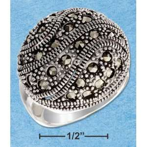 STERLING SILVER MARCASITE BUTTON DOME RING WITH OPEN WAVES