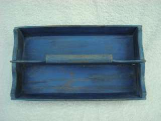Vintage Antique Wood Knife Cutlery Utility Tray Box in Old Blue Paint