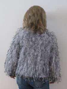 vtg 70s FUZZY MOHAIR KNIT GRAY SWEATER LADIES SHAGGY MONKEY JACKET