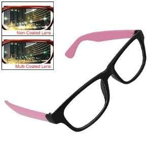 Rectangle Lens Pink Black Full Frame Plano Glasses