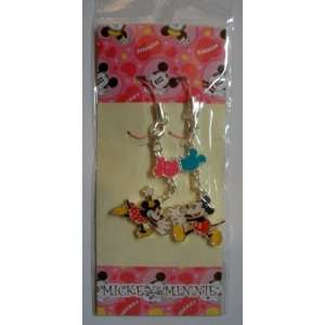 2 Disney Mickey & Minnie Metal Cell Phone Charm Strap Set