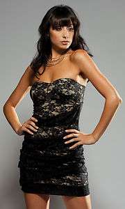 STRAPLESS LACE MINI DRESS CLUBWEAR COCKTAIL EVENING RUNWAY CHIC PARTY