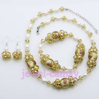Lovely Yellow Crystal Beads & Pearls & Glass Necklace Bracelet Earring