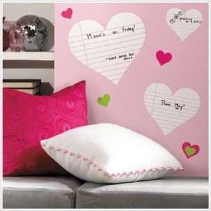 New Hearts Notepad Dry Erase Board Wall Decals Stickers Girls Bedroom
